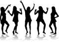 Dancing girls - silhouettes. Stock Photos