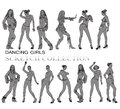 Dancing girls silhouettes sketch collection Stock Photography