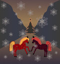 Dancing horses and christmas tree illustration Stock Photo