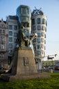 Dancing House and monument of Alois Jirasek in Prague Czech Republic