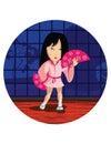 Dancing japan girl Royalty Free Stock Photo