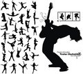 Dancing jumping running people silhouettes Royalty Free Stock Photo