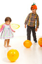 Dancing kids at Halloween party Royalty Free Stock Photo
