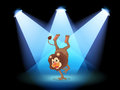 A dancing lion in the middle of the stage illustration Royalty Free Stock Image