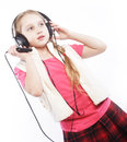 Dancing little girl headphones music singing Royalty Free Stock Photography