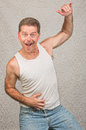 Dancing Man in Undershirt Royalty Free Stock Photo