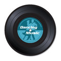 Dancing music vinyl record isolated with the text and a couple silhouette Stock Photos