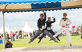 Dancing at nairn games trio doing hornpipe highland held on th august Royalty Free Stock Images