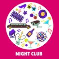 Dancing party night club disco ball and limousine