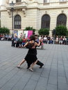 Dancing people bucharest birthday street in Royalty Free Stock Images