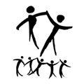 Dancing people hand drawn illustration.