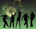 Dancing people silhouette  Stock Photography