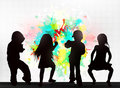 Dancing people silhouettes happy children Stock Photography