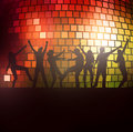 Dancing people silhouettes party with disco ball Royalty Free Stock Image