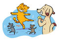 Dancing pet animals a happy celebration by cat mouse and dog vector eps file Royalty Free Stock Photography