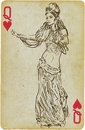Dancing princess playing card with the drawn figure or simply beauty from the middle east description drawing consists of at least Stock Photos