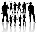 Dancing and Singing People's Silhouettes Royalty Free Stock Images