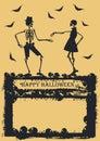 Dancing Skeleton on yellow background Royalty Free Stock Photo