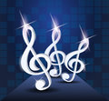 Dancing treble clef on the stage Royalty Free Stock Photography