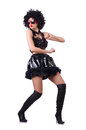 Dancing woman in black leather costume Stock Image