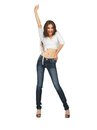 Dancing woman in casual clothes bright picture of Royalty Free Stock Images