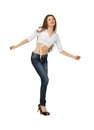 Dancing woman in casual clothes bright picture of Stock Image