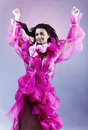 Dancing Woman On Pink Background Royalty Free Stock Photography