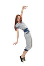 Dancing woman in sportswea sportswear isolated on white Stock Images