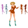 Dancing women set several young moving to the rhythm of music Royalty Free Stock Photography