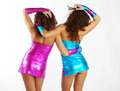 Dancing women in sparkling dress Royalty Free Stock Photo