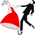 Dancing young couple retro like clipart Stock Photos