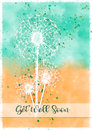 Dandelion Burst Get Well Card Royalty Free Stock Photo