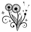 Dandelion flowers black illustration vector design elements Stock Images