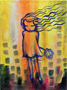 Dandelion girl abstract painting of a little on yellow background Stock Photo