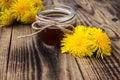 Dandelion jam or honey in jar with fresh flowers