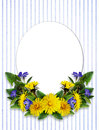 Dandelion and periwinkle flowers arrangement and a card Royalty Free Stock Photo