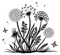 Dandelion spring black illustration vector design elements Royalty Free Stock Images