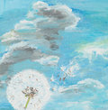 Dandelion watercolor painting illustrating a on cloudy blue sky Royalty Free Stock Photos