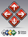 Danger arrow set multicolor sign collection with black border reflection and shadow background Royalty Free Stock Photo