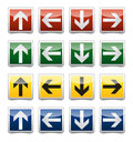 Danger arrow sign set isolated warning exit emergency collection with reflection and shadow on white background Royalty Free Stock Photography