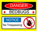 Danger BedBug Hazard Signs Illustrations Stock Photos