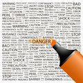 Danger concept illustration graphic tag collection wordcloud collage Stock Images