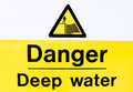 Danger deep water sign to warn people of the of Royalty Free Stock Image