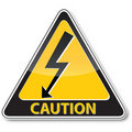 Danger electric shock risk sign Stock Photography