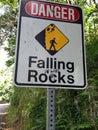 Danger falling rocks graffiti sign in love Royalty Free Stock Photo