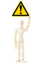 Danger And Hazard Sign in dummy hand Royalty Free Stock Photo