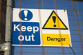 Danger/Keep Out with Double Fence Royalty Free Stock Photo