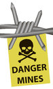 Danger mines and barbed wire vector illustration Royalty Free Stock Photos