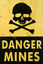 Danger mines warning sign closeup Royalty Free Stock Photo