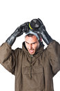 Danger is my business a man wearing an nbc suite nuclear biological chemical Royalty Free Stock Image